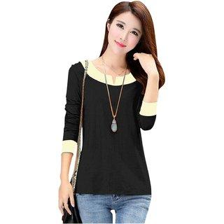 Saadhvi Black Knitting Plain Shirt (Tipsy181Black(S))