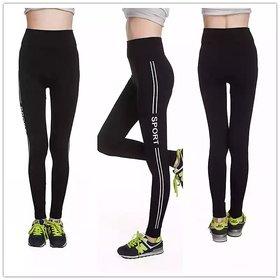 Stretchable  SPORT    Letter Side Double Stripe Printed Leggings / Gym Wear /Yoga Wear /Sport's Wear