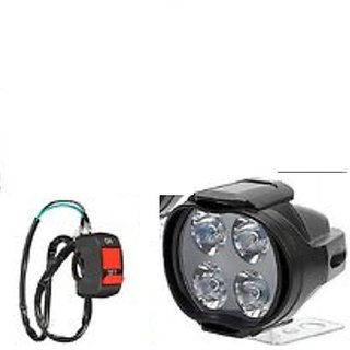 Bike / Motorcycle 4 LED Headlight Driving Fog Spot Light 1 PCS + Free (On / Off) Switch