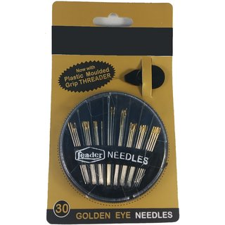 De-Ultimate 30-Count in Round-Shaped Set Hand Sewing Steel Golden Eye Needles for Embroidery Mending Craft Quilting