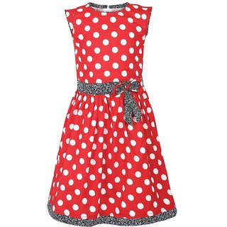 Meia for girls Polka Dots Printed Cotton Frock Dress