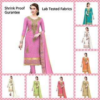 DnVeens Women Chanderi Embroidered Hand Work Unstiched Suit Salwar Kameez Dress Material With Dupatta SILVINA6005
