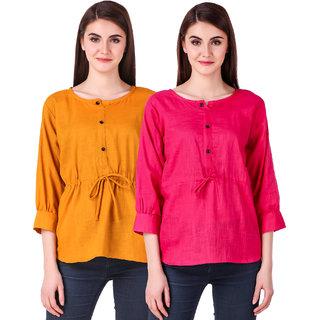 KRITIKA WORLD Women's Multicolor Plain Cotton Drawstring Tops