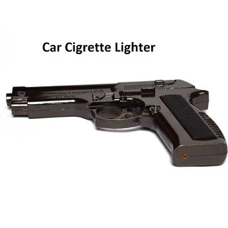 Gun Shaped Cigaratte Lighter with Windproof Jet Flame - Metal Body  Plastic Hand Grip - Assorted Color