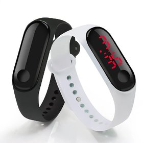 FARP Digital led watch band type black and white colour mens and boys watch combo watch