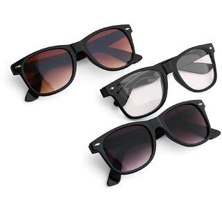 Ivonne Mirrored Wayfarer Stylish Unisex Sunglasses Combo (Latest Goggles)