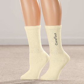 CuraFoot Diabetic  Therapeutic Socks for Men  Women - Unisex, Everyday Wear, Crew Length, Large Size, Beige Color, 1 P