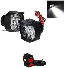 RA Accessories 9 Led Universal White Fog Light For Two Wheeler  - Set of 2