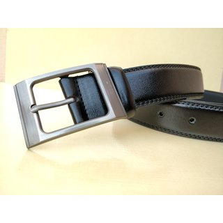 Stylish Formal Leatherite Black Belt For Men-01 (Synthetic leather/Rexine)