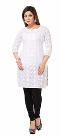 New Designer White color Chikankari Material Kurti for Woman and Girls(OMKT02)