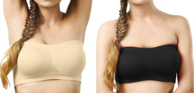 Hothy Wirefree Non-Padded Strapless Tube Bra (Pack Of 2)
