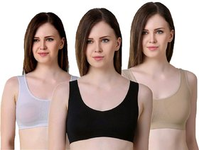 Women's Cotton Lycra Cycling, Dancing, Yoga,Gym, Sports, Air bra (Free Size) (28 To 36) - Pack of 3