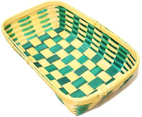 Vitacrafts Green Bamboo basket for craft, table organiser, gift packing. Small bamboo rectangular Basket