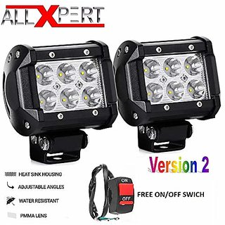 AllXPert 6 LED Bar Light Universal Bike Car Fog Light - Version 2 - Work Light Aluminum SMD LED Bar Light for Off Roading Bikes Cars SUV ATV - Fitting Inside  Free ON/Off Switch - Set of 2 (24W