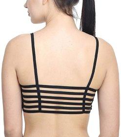 OMCY Black Color 6 Straps  Padded Bralette Bra (removable pads)(Size FREE)