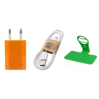 (Tricolor combo No 13 ) 3 in 1 combo of Usb Adopter, Charging Data Cable and charging stand by KSJ Accessories