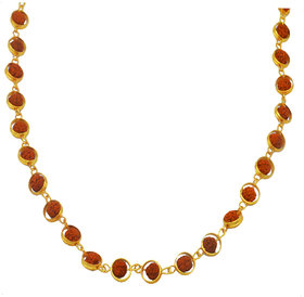 Men Style Origional Rudraksha 5 Mukhi Mala Gold Plated Caps Brown Gold Brass Wood Necklace