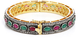 Anesh Ruby and Green Ethnic Traditional Designer Brass Gold Rhodium Bracelets Bangles kadas for Girls and Women