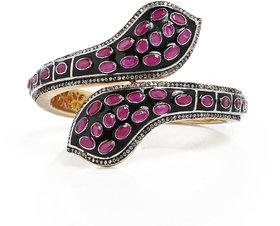 Anesh Ruby Ethnic Traditional Designer Brass Gold Rhodium Bracelets Bangles kadas for Girls and Women