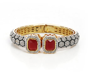 Anesh Ruby and Zircon Ethnic Traditional Designer Brass Gold Rhodium Bracelets Bangles kadas for Girls and Women