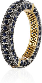 Anesh Blue and Zircon Ethnic Traditional Designer Brass Gold Rhodium Bracelets Bangles kadas for Girls and Women