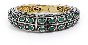 Anesh Green and Zircon Ethnic Traditional Designer Brass Gold Rhodium Bracelets Bangles kadas for Girls and Women