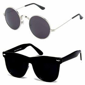 HH Unisex UV Protected 55 Black Round Sunglasses and Black Wayfarer Goggle Sunglasses for Mens Women