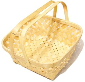 Vita Crafts Bamboo 9 square basket for crafts and storage, Organizer and Flower Basket with handle for easy Holding