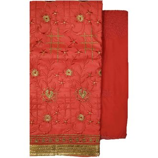 Varun Cloth House Womens Cotton Embroided Salwar Suit Material (vch6499, Red, Free Size)