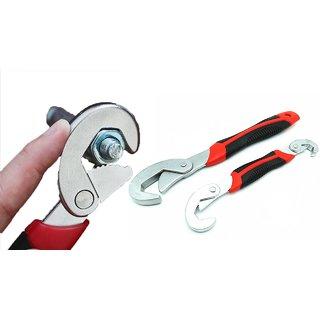 KunjZone  2PCs Set Adjustable Quick Snap 'N Grip Wrench Universal Wrench Set Spanner Tool