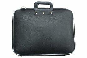 Faux Leather Laptop Bag 15.6 Inch Smart Design - Black - Unisex Laptop Bag for Women or Men Stylish Ultrabook Case