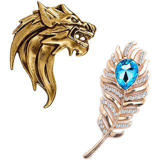 Om Jewells Fashion Jewellery Combo of Roaring Lion and Peacock Feather Inspired Designer Lapel Pin for Men CO1000215GLD