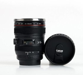 House of Quirk Coffee Lens Emulation Camera Cup Beer Cup Wine Cup Without Lid Black Plastic CupCaniam Logo 480Ml- Black