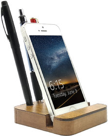 JaamsoRoyals Rectangle Design Wooden Mobile Phone Stand / Holder For Smartphone (Wooden)