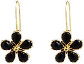 Anesh Black Gold Plated Pearl Ethnic Long Dangle Drop Earrings for Women