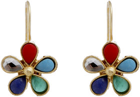 Anesh Multicolour  Gold Plated Pearl Ethnic Long Dangle Drop Earrings for Women