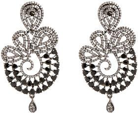 Anesh Black Gold Plated Pearl Ethnic  Dangle Pushup Earrings for Women