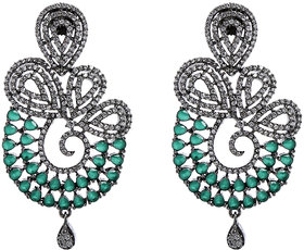 Anesh Green Gold Plated Pearl Ethnic  Dangle Pushup Earrings for Women