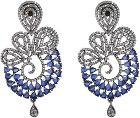 Anesh Blue Gold Plated Pearl Ethnic  Dangle Pushup Earrings for Women