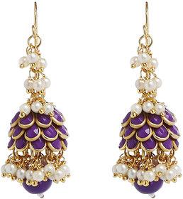 Anesh Purple Gold Plated Pearl Ethnic Long Dangle Drop Earrings for Women
