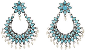 Anesh Turquoise Gold Plated Pearl Ethnic  Dangle Pushup Earrings for Women