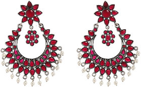 Anesh Ruby Gold Plated Pearl Ethnic  Dangle Pushup Earrings for Women