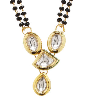 Anesh Black Pearl Designer and Gold Plated Mangalsutra Pendant Traditional Jewellery for Women