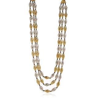 Anesh Ethnic Traditional Brass Royal Gold and Silver Crystal  Necklace/Thread Chain Multistring Jewellery for Women and Girls