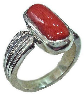 Coral 5.25 Ratti Stone Silver Plated Adjustable  Ring  By CEYLONMINE