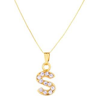 GoldNera Alphabet Pendant Akshar Name Gold Plated Pendant Necklace For Girls/Women (S)