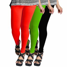 Combo Pack of 3 Cotton Stretchable Leggings for Women/Girls - (Multicolour, Free Size)