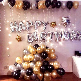 Happy Birthday Letter Foil Balloon Set of 13 Letters (Silver)+HD Metallic Balloons (Black, Gold and Silver) Pack of 50