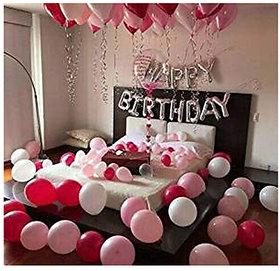 A-One Happy Birthday foil 13 Letters Balloon Set (Silver) with White, Red and Pink Balloons (Pack of 50)