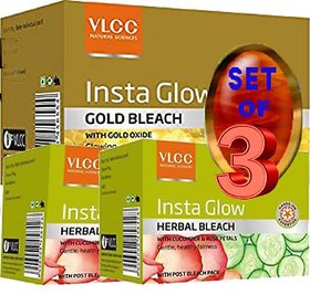 VLCC Gold Bleach + Insta Glow Herbal Bleach  (Set of 3)